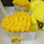 Желтые розы в коробке - сердце Розы в коробке Желтые Venus in Fleurs