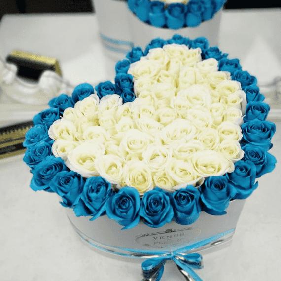 """Голубые розы в коробке - сердце """"Sky Love"""""""