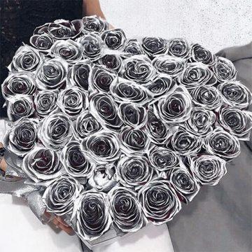 Купить Серебряные розы с Доставкой в Москве