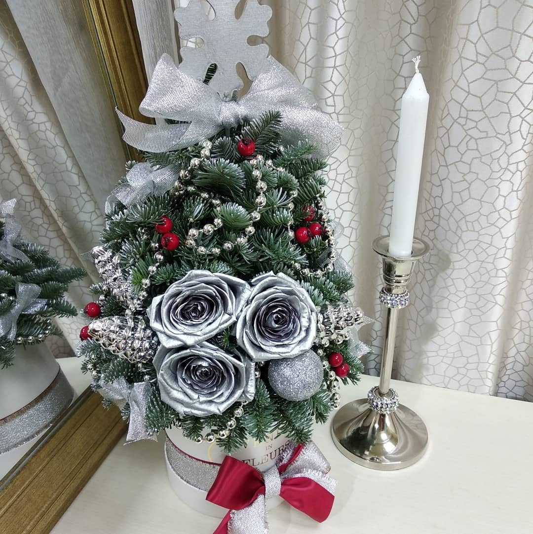 Елка Нобилис 0,7 м. с игрушками Новый год Серебряные Venus in Fleurs