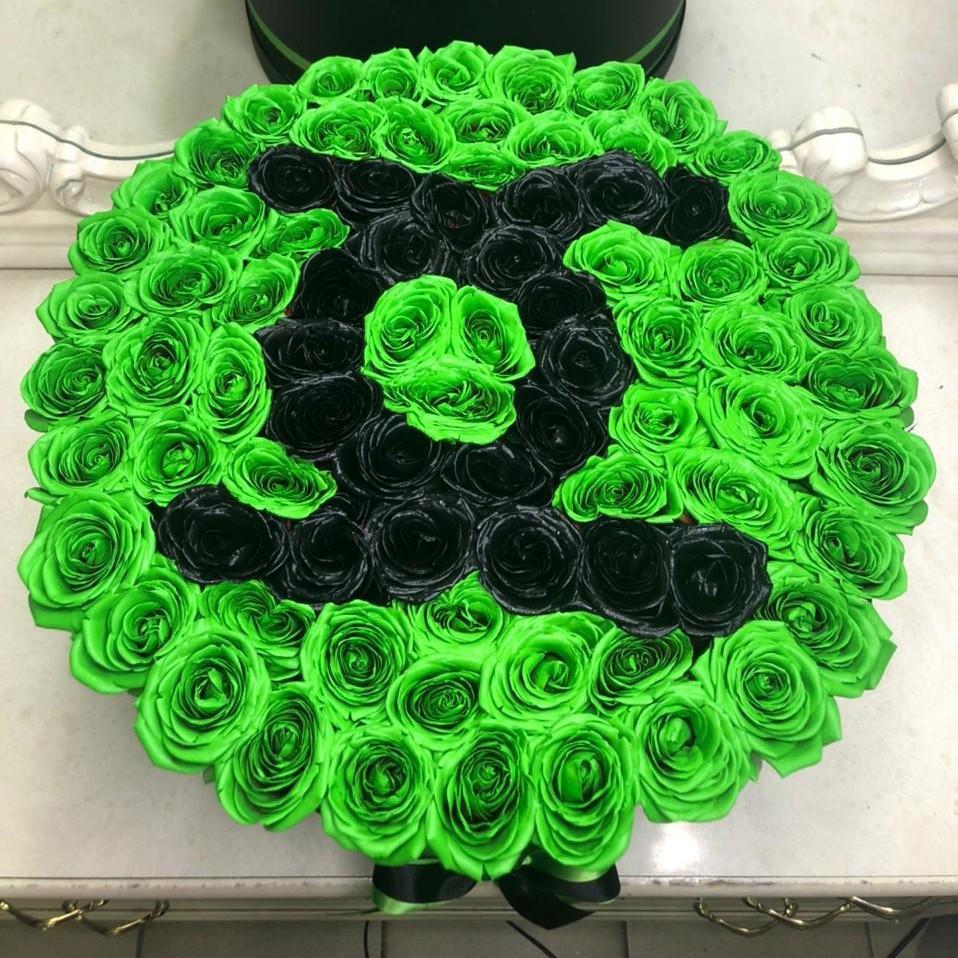 101 зеленая роза - Chanel 101 роза в коробке Черные Venus in Fleurs