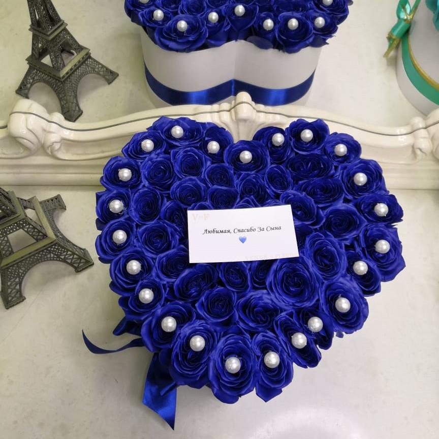 51 синяя роза - сердце 51 роза в коробке Venus in Fleurs