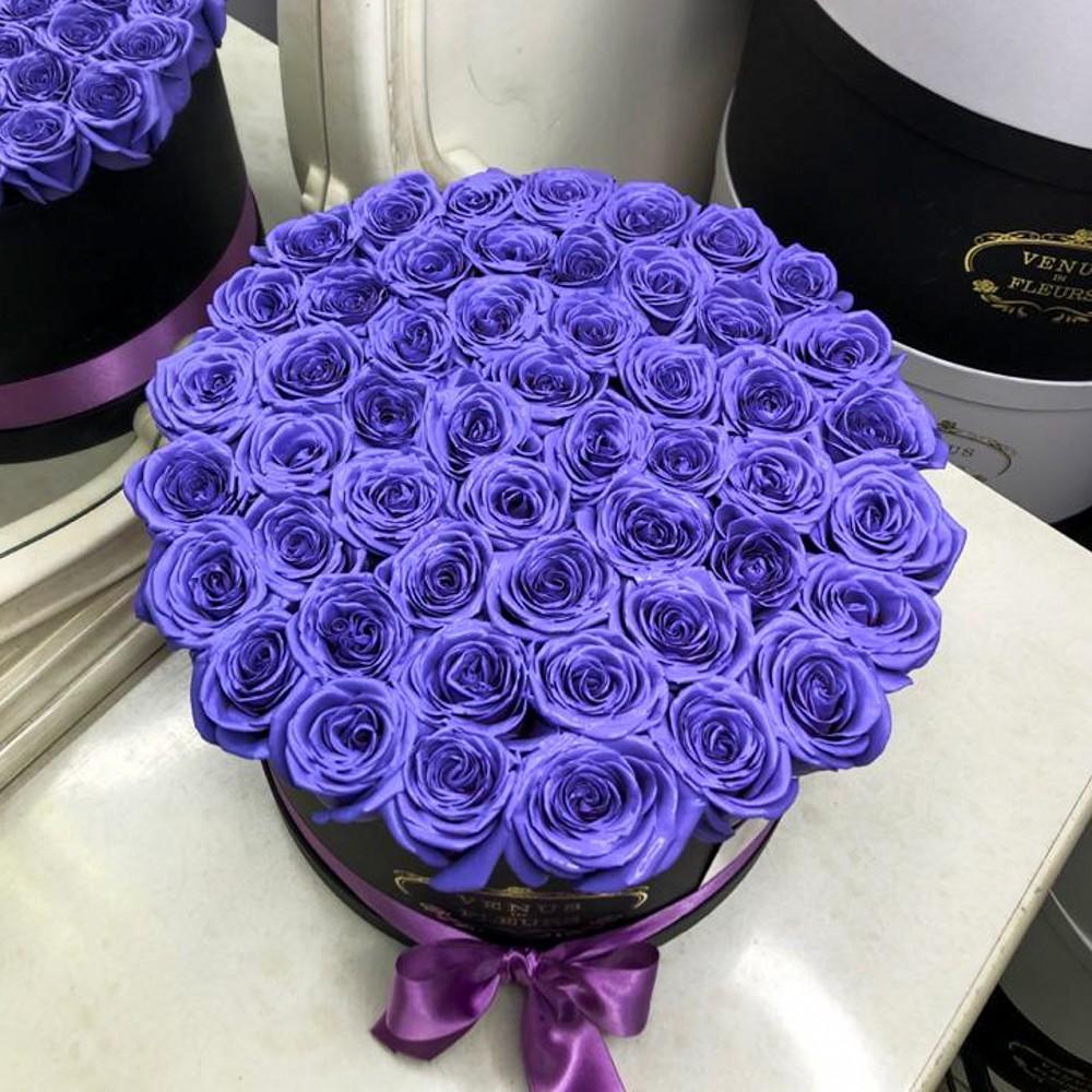 51 фиолетовая роза в коробке 51 роза в коробке Фиолетовые Venus in Fleurs