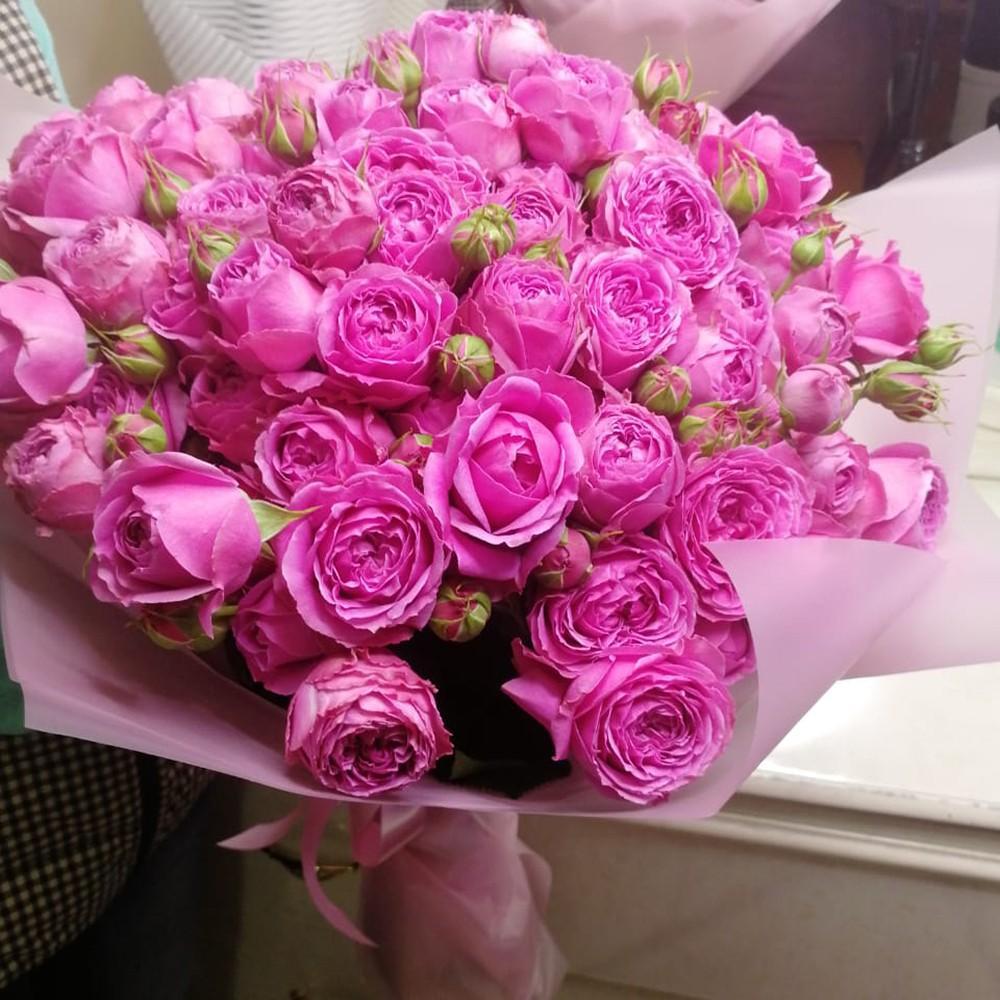 51 розовая пионовидная роза в букете Букет из 51 розы Розовые Venus in Fleurs
