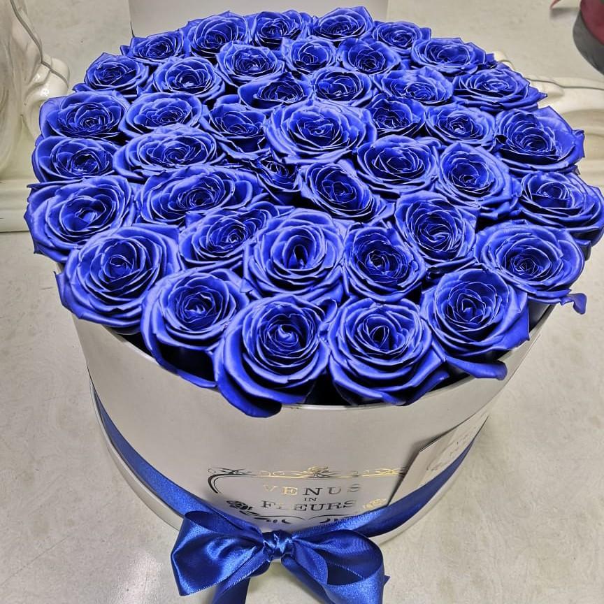 25 синих роз в коробке 25 роз в коробке Синие Venus in Fleurs