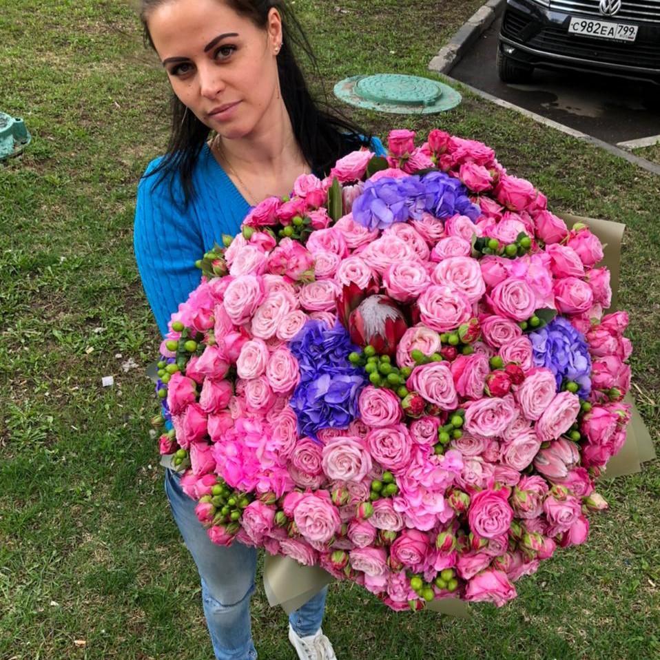 Огромный нежный микс Букеты Розовые