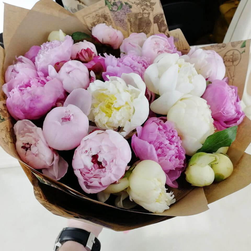 25 нежных пионов в букете Букет из 25 роз Розовые Venus in Fleurs