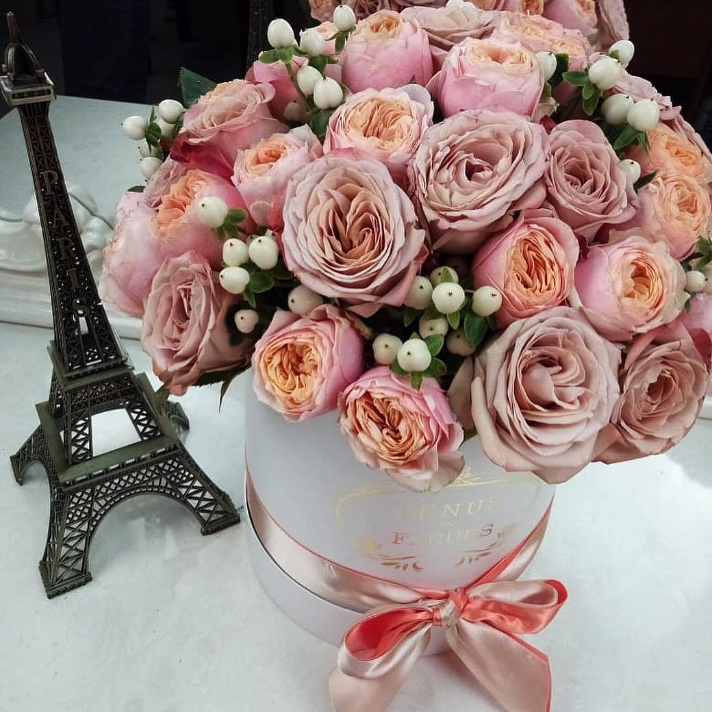 15 кофейных роз с ягодами 15 роз в коробке Кофейные Venus in Fleurs