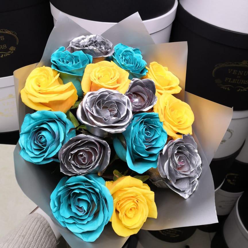 15 роз микс в букете Букет из 15 роз Желтые Venus in Fleurs