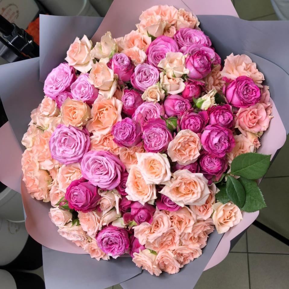 51 кустовая роза с пионовидными в букете Букет из 51 розы Розовые Venus in Fleurs