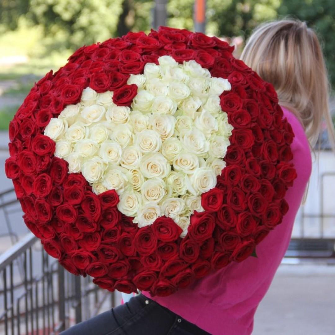 251 роза с сердцем в букете - 70 см. Букеты Красные Venus in Fleurs