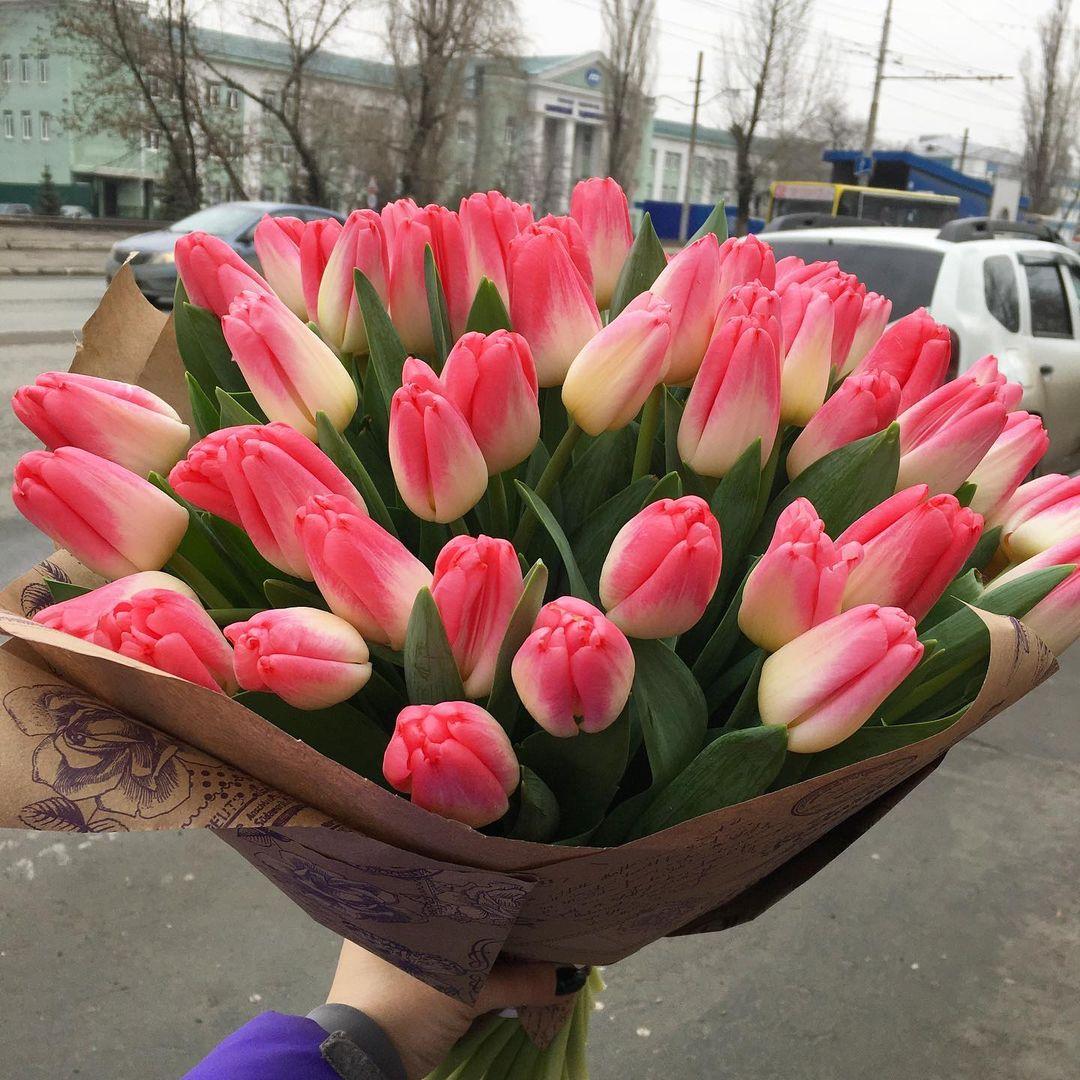"""51 розовый тюльпан """"Джумилия"""" в букете Букеты Розовые Venus in Fleurs"""