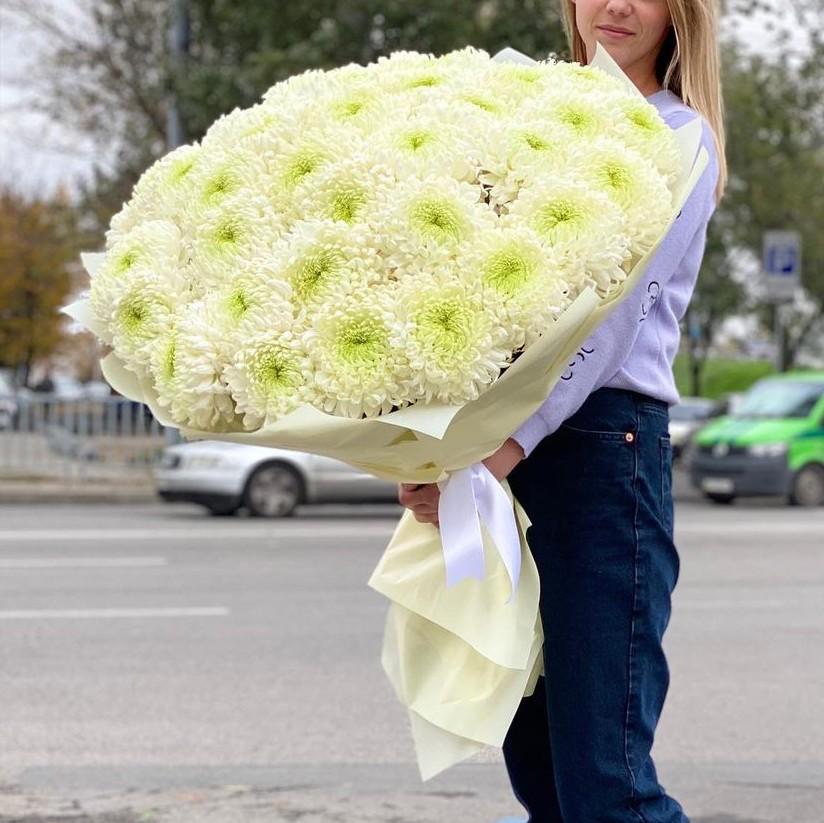 51 лимонная крупная хризантема Букеты Белые Venus in Fleurs