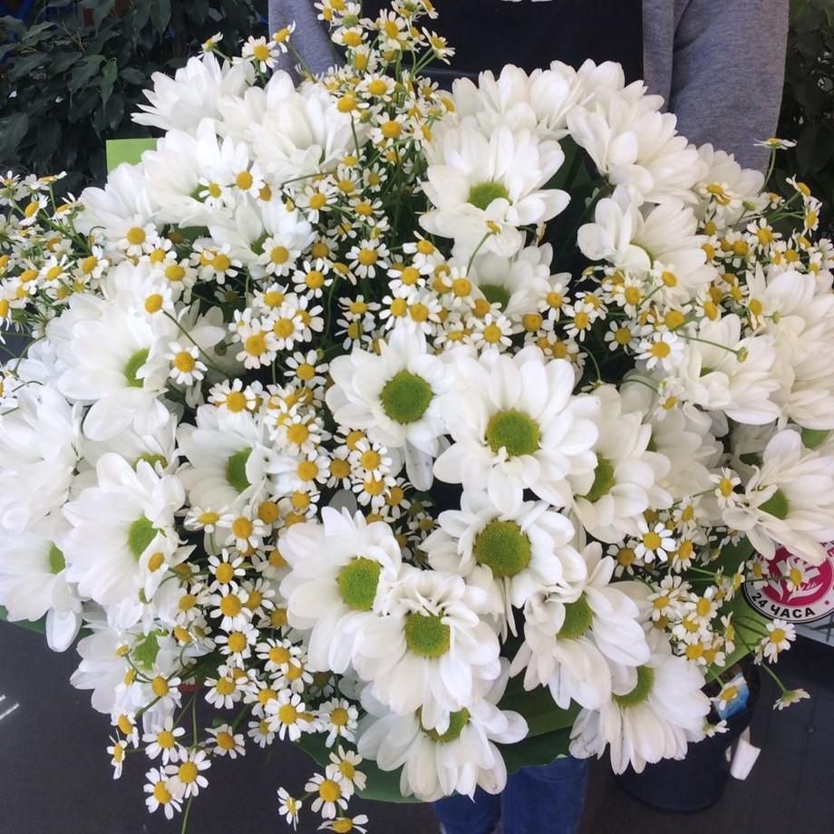 Хризантемы с ромашками в букете Хризантемы Белые Venus in Fleurs