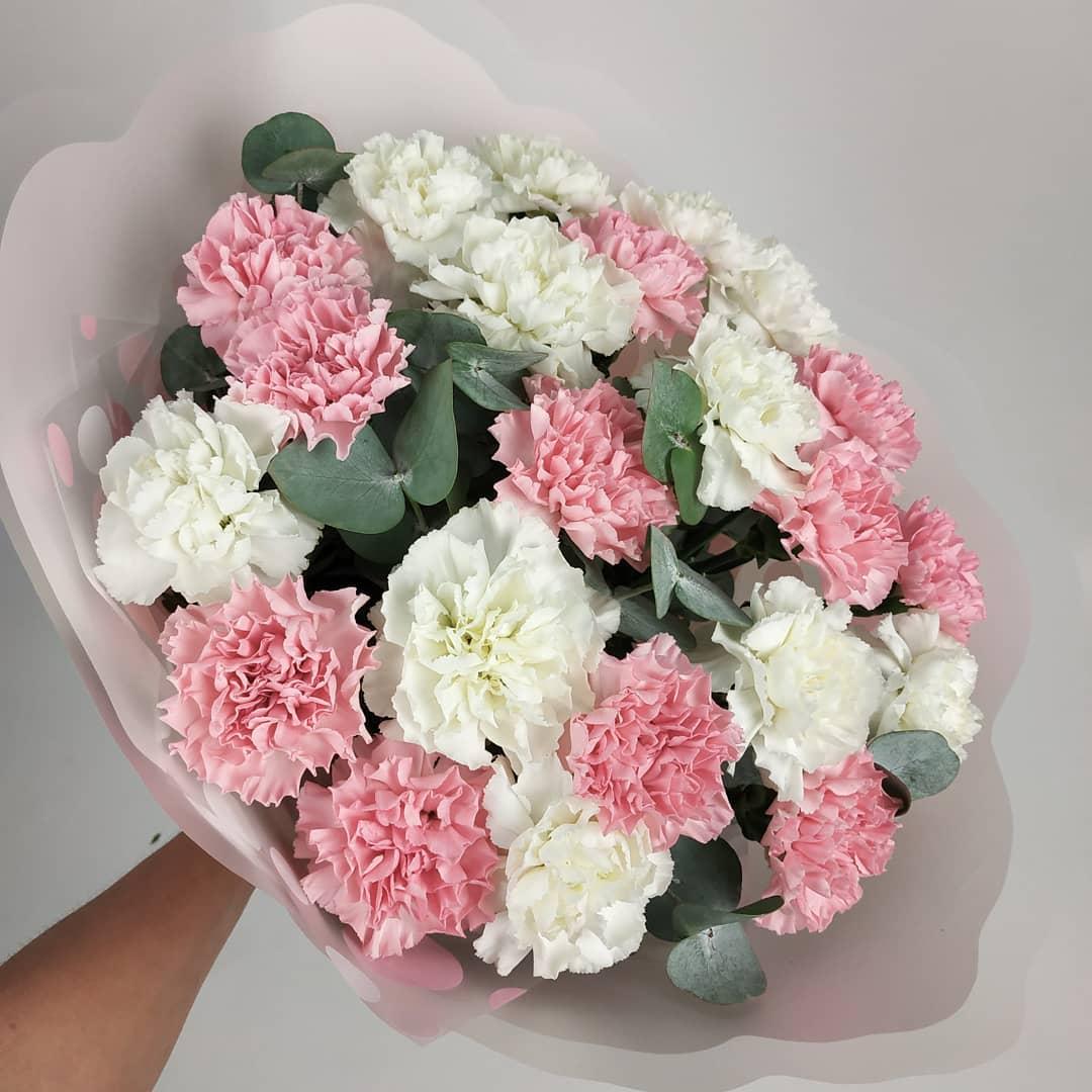 29 бело-розовых гвоздик с эвкалиптом Гвоздики Розовые Venus in Fleurs