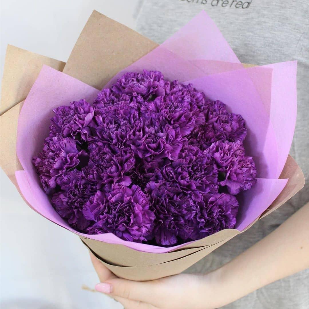 19 фиолетовых гвоздик в букете Гвоздики Фиолетовые Venus in Fleurs