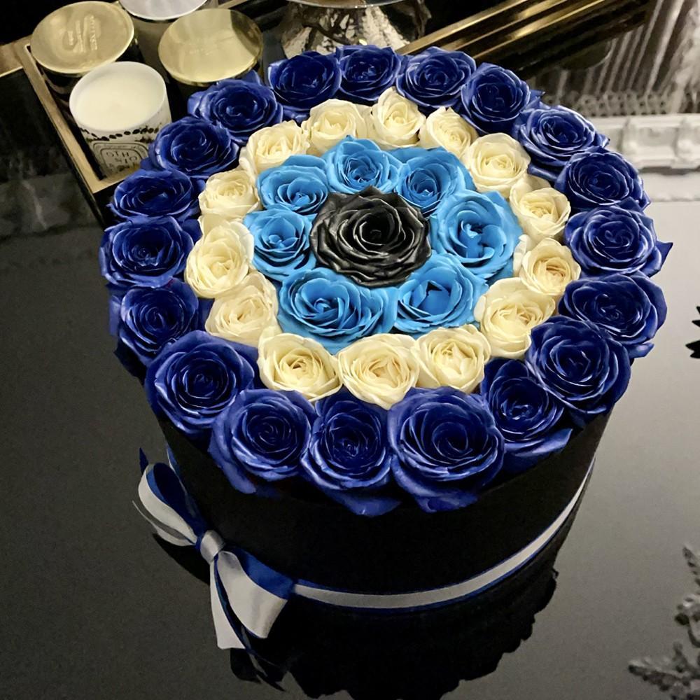 51 синяя спираль с белыми розами 51 роза в коробке Синие Venus in Fleurs
