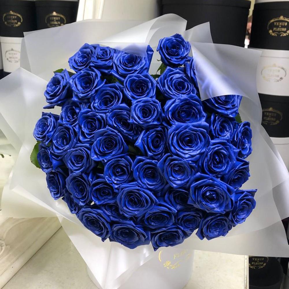 51 синяя роза в букете Букет из 51 розы Синие Venus in Fleurs