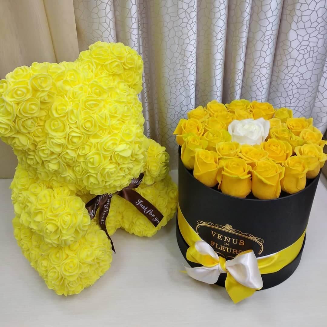 29 желтых роз в коробке Розы в коробке Желтые Venus in Fleurs