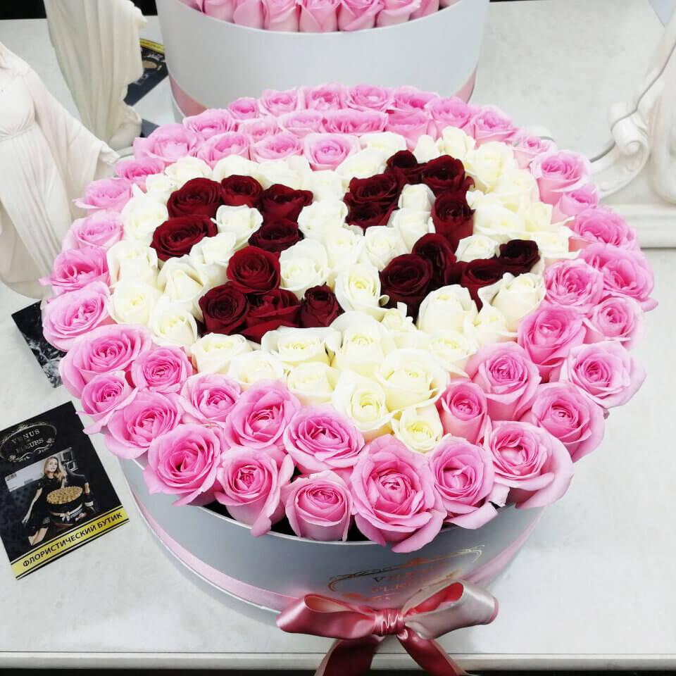 Букет на день рождения любимой Розы в коробке Красные Venus in Fleurs