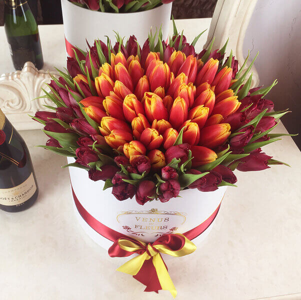 """Красно желтые тюльпаны """"Огненная саламандра"""" Цветы в коробке Красные Venus in Fleurs"""