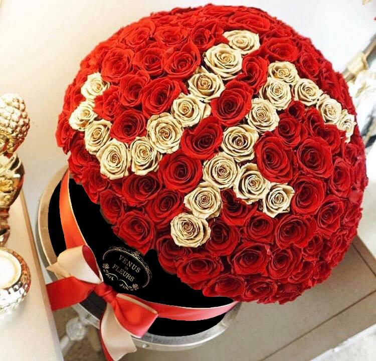 Красные розы с инициалами - Шар Розы в коробке Красные