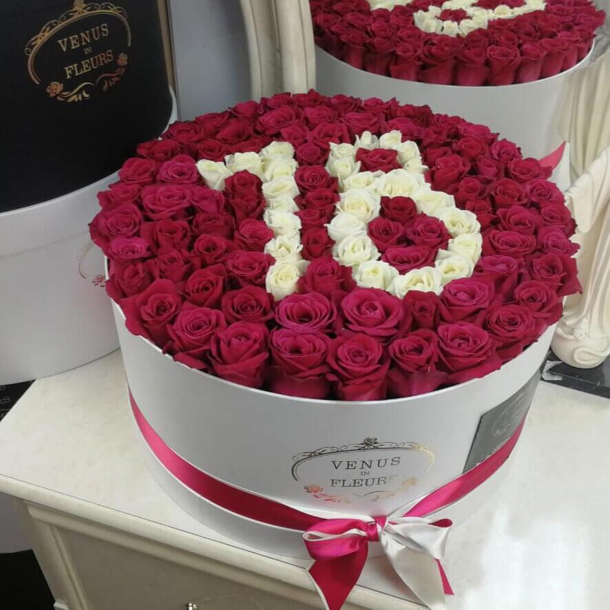 Малиновые розы на день рождения Розы в коробке Белые