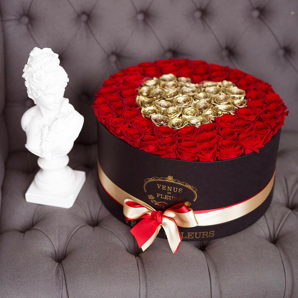 """Премиум розы """"Золотая любовь"""" Розы в коробке Красные Venus in Fleurs"""
