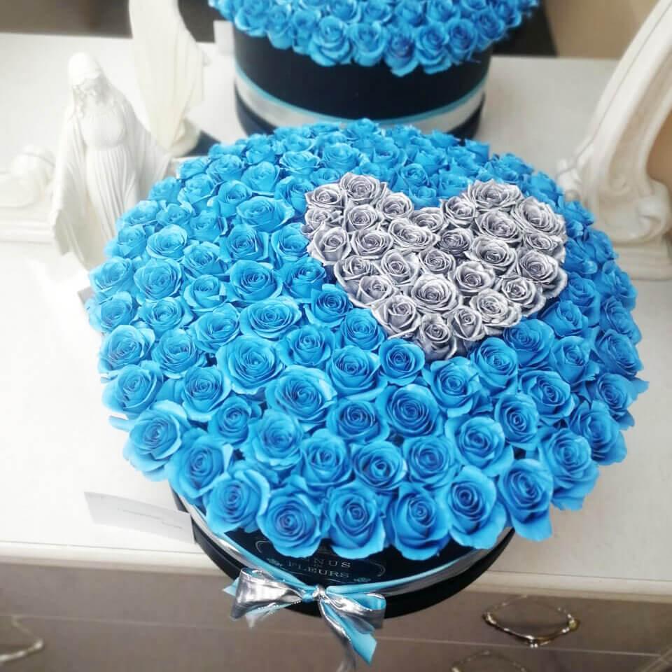 """Хрустальная любовь """"3D"""" Розы в коробке Голубые Venus in Fleurs"""
