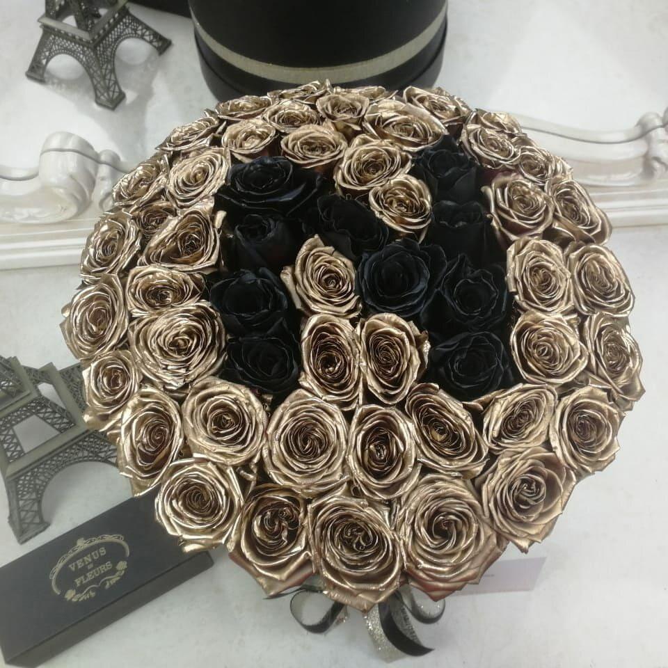 Золотые розы в коробке Black Name Розы в коробке Золотые Venus in Fleurs