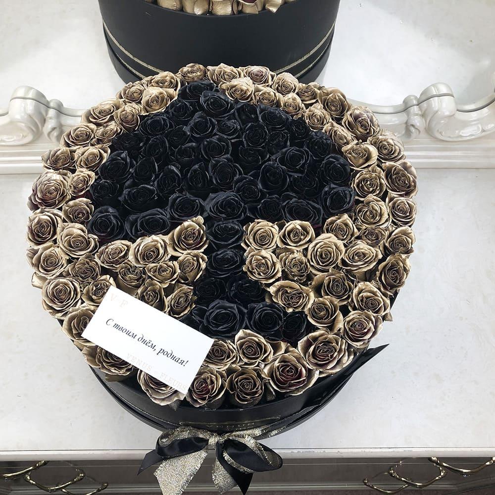 Золотые розы в коробке - Пиковая дама Розы в коробке Золотые Venus in Fleurs