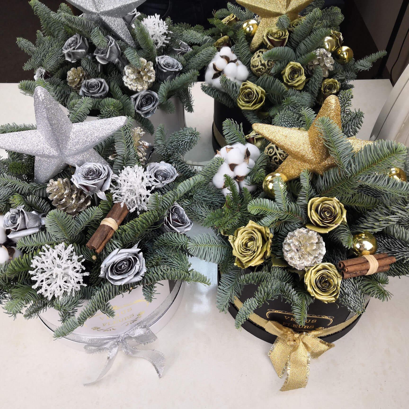 Шикарный новогодний букет Новый год Золотые Venus in Fleurs