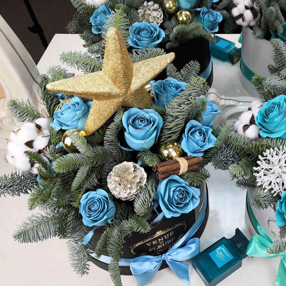 Букет Щелкунчик Новый год Голубые