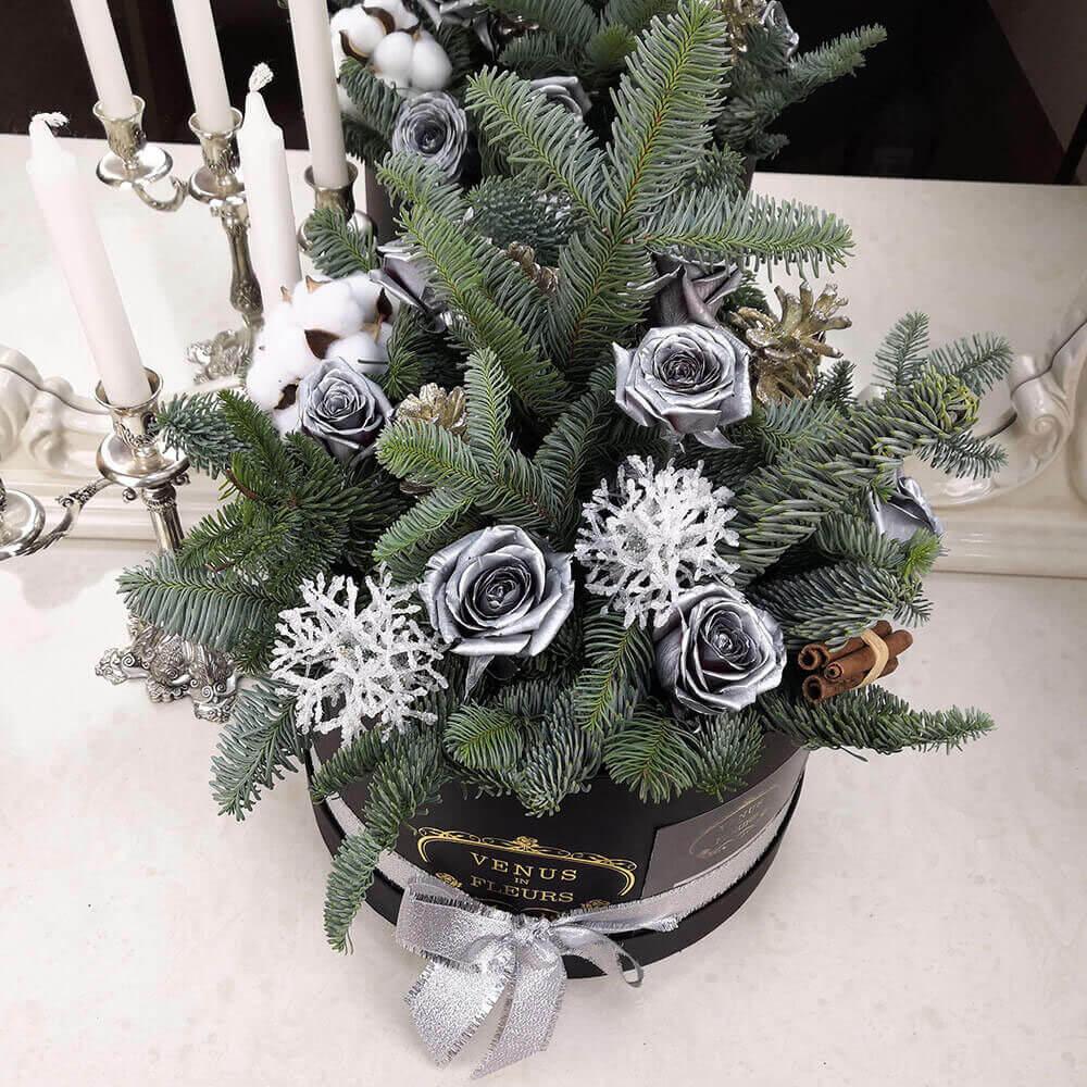Новогодние цветы из серебра Новый год Белые Venus in Fleurs