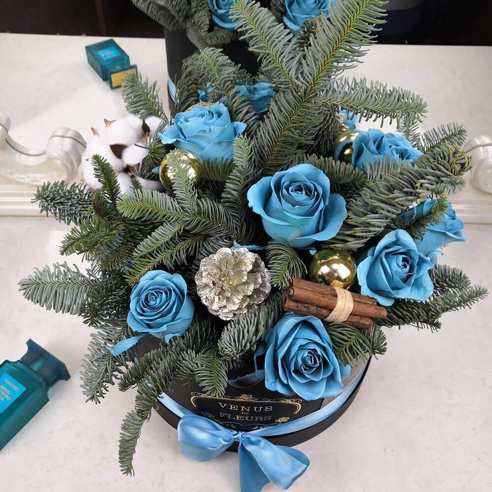 Рождественский букет Новый год Голубые
