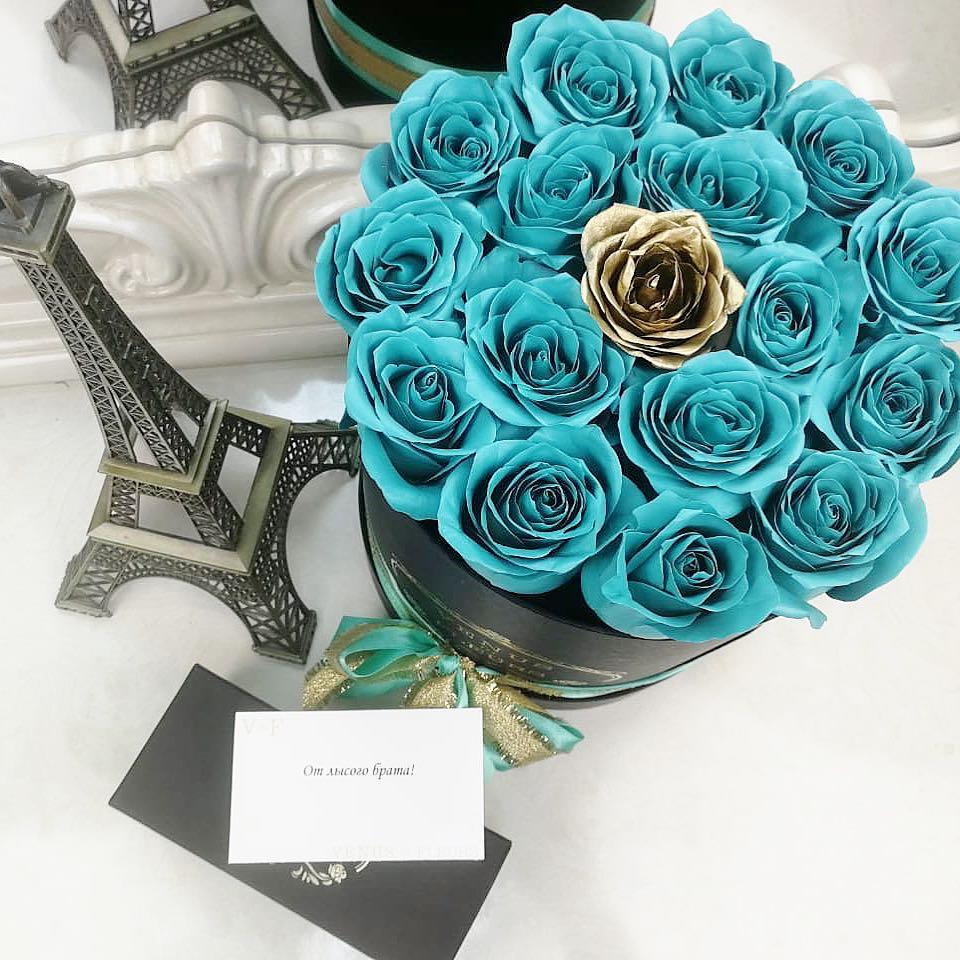 Тиффани розы в коробке Бизнес-букеты Золотые