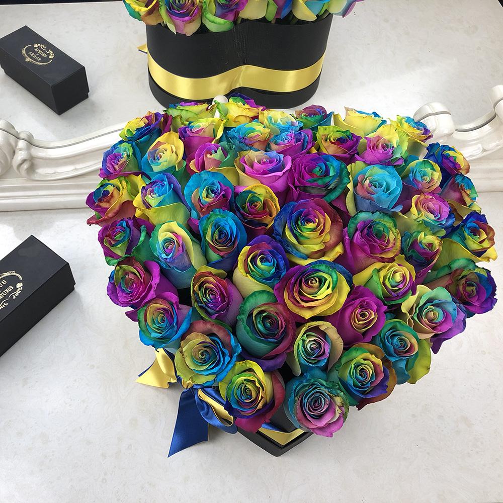 51 радужная роза в коробке - сердце Дочке Радужные Venus in Fleurs