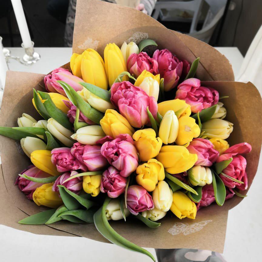 Красивый букет тюльпанов Букеты Розовые